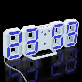 3D LED Digital Alarm Clock, Modern Wall Desk Table Clock w/ Snooze - Blue Light