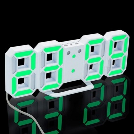 3D LED Digital Alarm Clock, Modern Wall Desk Table Clock w/ Snooze - Green Light