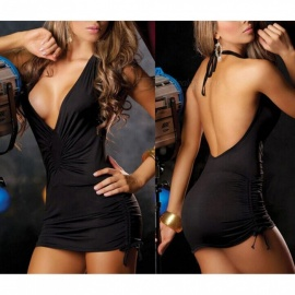 Sexy Deep V Backless Tight Package Hip Dress Sexy Lingeries - Black