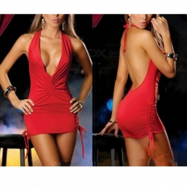 Sexy Deep V Backless Tight Package Hip Dress Sexy Lingeries - Red