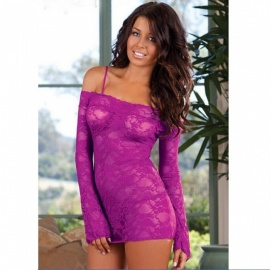 Sexy Lace Off Shoulder Long Sleeves Tight Top Sexy Lingeries - Purple