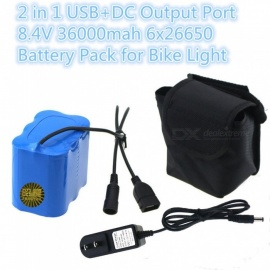 ZHAOYAO 4.2V 36000mAh 6 x 26650 Rechargeable Lithium Battery with US Plug Charger for Mountain Bike Light