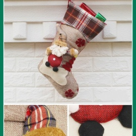 P-TOP Christmas Stocking Gift Bag, Kids Xmas Noel Decoration, Christmas Tree Ornament - Santa Claus Pattern