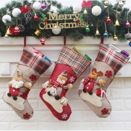 P-TOP Christmas Stocking Gift Bag, Kids Xmas Noel Decoration, Christmas Tree Ornament (3 PCS)
