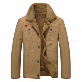 CTSmart YM608 Men's Fashion Long Sleeves Warm Jacket Coat for Autumn Winter - Khaki (L)