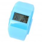 Waterproof Colorful Backlit Electronic Watch with Alarm Clock & Hourly Chiming - Blue