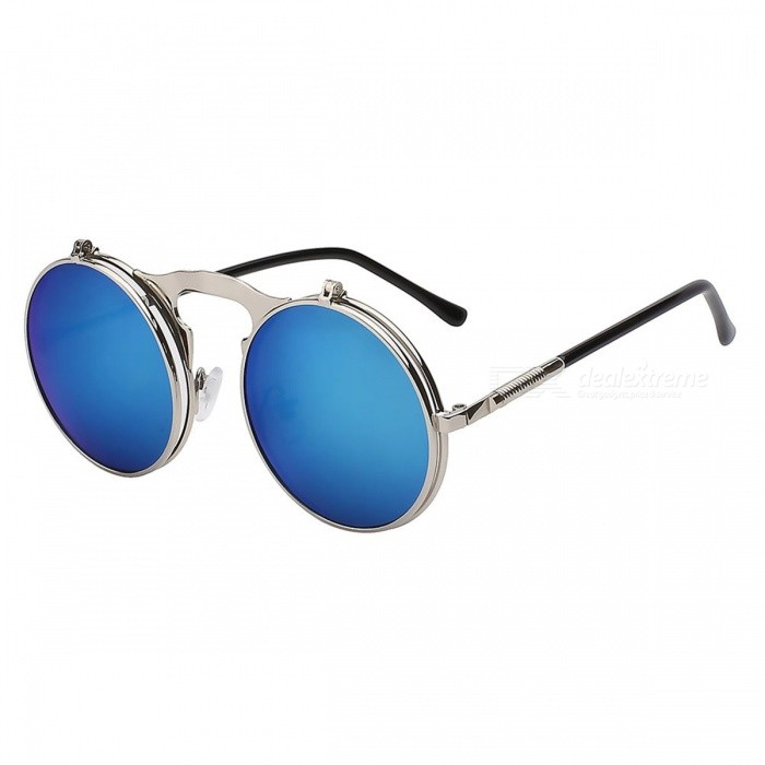 Flip Up Steampunk Sunglasses UV 400 Protection Round Shaped Vintage Sunglass Fashion Cool Stylish Sunglasses BlueSunglasses<br>Lens ColorBlueQuantity1 pieceShade Of ColorBlueFrame MaterialMetalLens MaterialPolycarbonateProtectionUV400GenderUnisexSuitable forAdultsFrame Height4.6 cmLens Width4.6 cmBridge Width2.5 cmOverall Width of Frame13.8 cmPacking List1 x Sunglass<br>