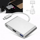 3-in-1 USB3.1 Type-C HUB, HDMI Converter with USB3.0 Port, Support PD Charging - Silver