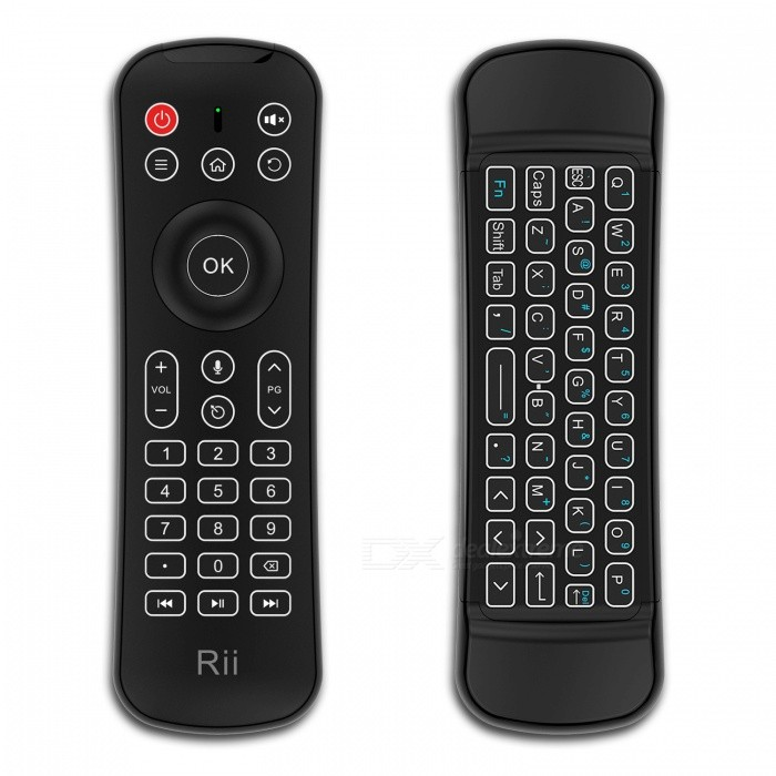 Rii MX6 2.4Ghz Wireless 6 Axis Gyroscope Air Mouse Keyboard with IR Remote Control / Mic / BacklitWireless Keyboards<br>Form  ColorBlackModelMX6MaterialABSQuantity1 pieceInterfaceUSB 2.0Wireless or Wired2.4G WirelessBluetooth VersionNoCompatible BrandAPPLE,Dell,HP,Toshiba,Acer,Lenovo,Samsung,MSI,Sony,IBM,Asus,Thinkpad,Huawei,GoogleAxis6Tracking MethodOthers,Air MouseBack-litYesOperation Distance10 mKey Travel10 mAnti-ghosting Key65Multi-media Key11Powered ByAAA BatteryBattery included or notNoCharging Time1 hourBattery Number1Power ConsumptionAAA * 1 batteryWaterproofNoTypeErgonomic,Air mouse &amp; KeyboardSupports SystemWin xp,Win 2000,Win 2008,Win vista,Win7 32,Win7 64,Win8 32,Win8 64,MAC OS X,IOS,Linux,Android 2.x,Android 4.xCertificationFCC CE ROHSPacking List1 * USB cable for charging1 * User manual1 * Wireless receiver adapter<br>