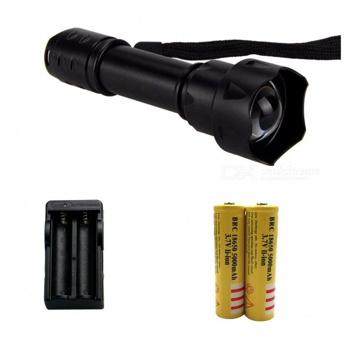 ZHAOYAO IR 38mm Lens Infrared Light Night Vision Flashlight Torch with EU Plug Charger + 2Pcs 18650 Batteries18650 Flashlights<br>Form  ColorBlack + Yellow (EU Plug)BrandOthers,ZHAOYAOQuantity1 setMaterialAluminium alloyOther FeaturesWaterproofLED TypeOthers,LEDEmitter BINothers,LEDNumber of Emitters1Color BINOthers,InfraredWorking Voltage   3.7-4.2 VPower Supply18650Current1 AOutput(lumens)1-200Actual Lumens1-200 lumensRuntime(hours)2.1-3RuntimeDepends on the battery quantities hourNumber of Modes1Mode ArrangementOthers,IRMode MemoryNoSwitch TypeForward clickySwitch LocationHead,Tail TwistyLensGlassReflectorNoBeam Range200 mStrap/ClipClip includedCertificationwave length: 800-850nmPacking List1 x Flashlight infrared 1 x EU charger2 x 18650 batteries<br>