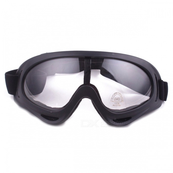 P-TOP Windbreak Sand Fans Tactical Ski Glasses Goggles for Motorcycle ATV Dirt Bike - TransparentGoggles<br>Form  ColorTransparentSizeOthersQuantity1 setGenderUnisexSuitable forAdultsLens ColorTransparentLens MaterialResinLens Width8 cmFrame ColorBlackFrame MaterialPlasticFrame Height7.5 cmOverall Width of Frame17 cmBridge Width4 cmBest UseMultisport,Running,Climbing,Rock Climbing,Family &amp; car camping,Backpacking,Camping,Mountaineering,Cycling,Mountain Cycling,Recreational Cycling,Road Cycling,Bike commuting &amp; touringPacking List1 x Goggles<br>