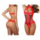 Europe And The United States Sexy Lace Sexy Bare Back Strap Lingerie Sexy Lingerie - Red