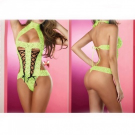 Europe And The United States Sexy Lace Sexy Bare Back Strap Lingerie Sexy Lingerie - Green