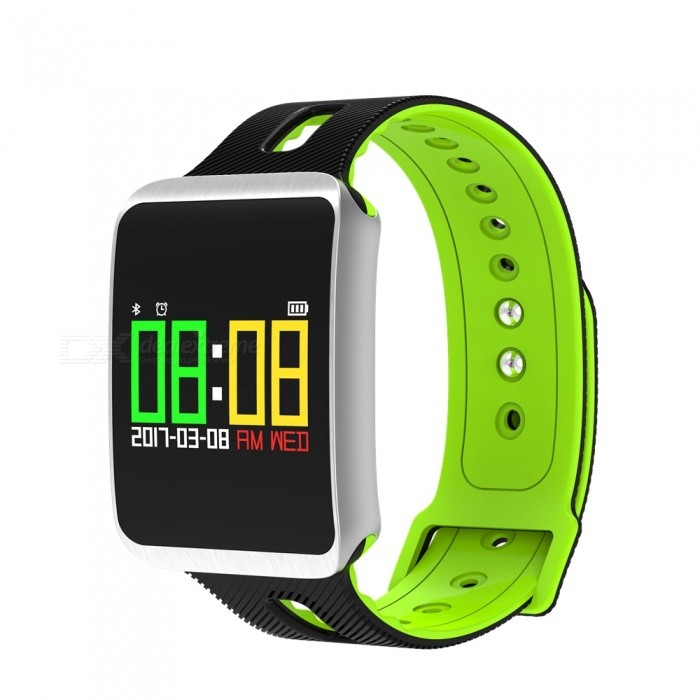 0.96 TFT Color Screen Bracelet with Heart Rate Monitor, Oxygen Blood Pressure, Calorie Consumption - GreenSmart Bracelets<br>Form  ColorGreen + Black + Multi-ColoredQuantity1 setMaterialABSShade Of ColorGreenWater-proofIP67Bluetooth VersionBluetooth V4.0Touch Screen TypeYesCompatible OSAndroid, IOSBattery Capacity120 mAhBattery TypeLi-polymer batteryStandby Time5-7 daysPacking List1 x Smart Bracelet1 x Charging Cable1 x Manual<br>