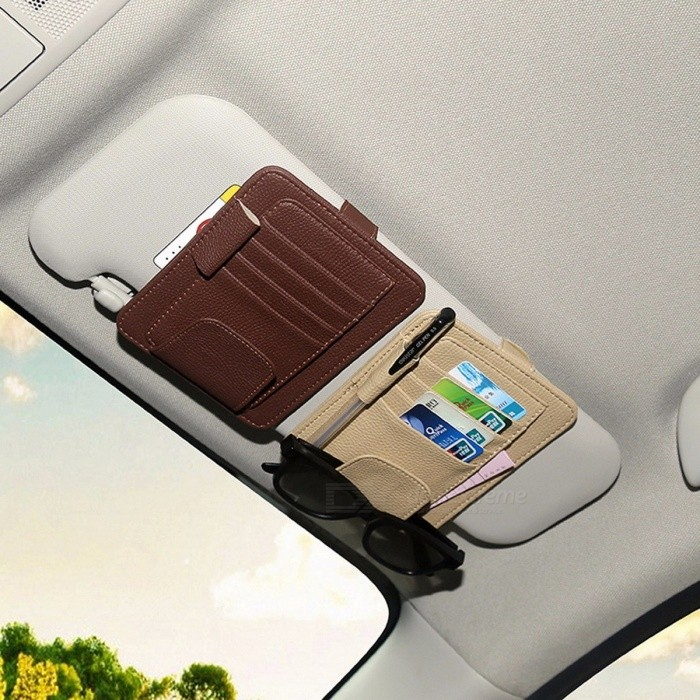 ... Universal Premium Multiuse Pen Card Ticket Glasses Leather Clip Holder  with Multiple Slots for Car Roof ... 61585b0608c