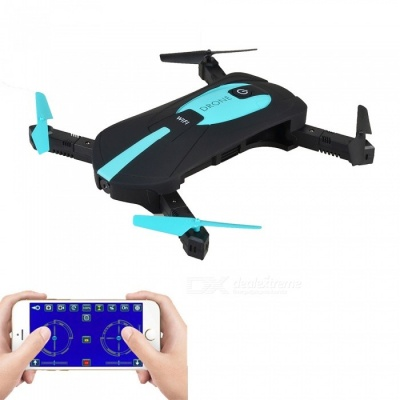 JY018 Wi-Fi FPV Foldable Mini Drone RC Quadcopter with 0.3MP Camera - Black + Blue