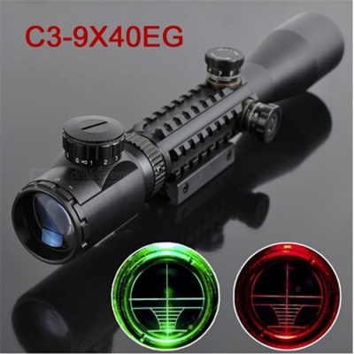 OJADE 3-9*40EG 3-9X Magnification Crosshair Reticle Fishbone Green Red Laser Gun Aim Sight