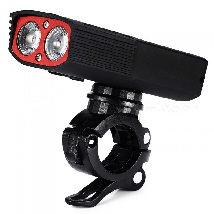 CTSmart Waterproof USB Rechargeable Bicycle Front Light Headlight for Outdoor Riding - Black