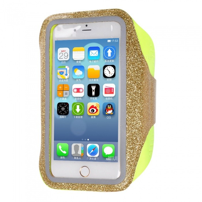 Outdoor Sports Water-Resistant Lycra Armband Case for IPHONE 7 PLUS / 6 PLUS / 6S PLUS / 8 PLUS / IPHONE X - Golden + YellowArmbands<br>Form  ColorGolden + YellowQuantity1 pieceMaterialHigh elastic nylon LycraCompatible ModelsiPhone 7 PLUS,IPHONE 6S PLUS,IPHONE 6 PLUS,iPhone X,IPHONE 8 PLUSStyleArmbandsBand Length28 cmPacking List1 x Armband<br>