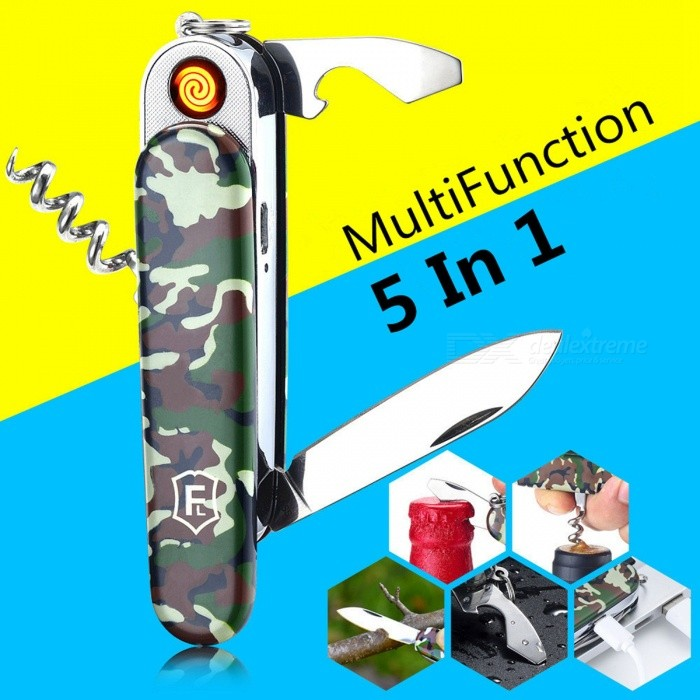 ZHAOYAO 5-in-1 Multifunction USB Rechargeable Electronic Turbo Cigarette Lighter�� Swiss Army Knife�� Camping Tool