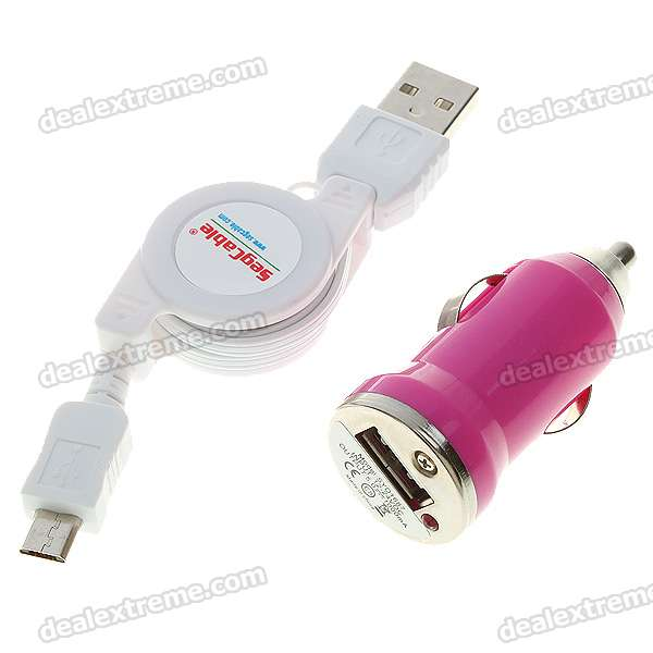 Mini Car Adapter/Charger + Micro 5-Pin Retractable Cable for Nokia/Motorola + More (White + Red)