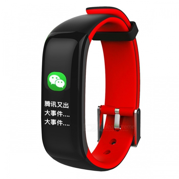 P1 Plus 0.96 Color Screen Smart Bracelet with Heart Rate Monitor, Blood Pressure Monitor - RedSmart Bracelets<br>Form  ColorRed + MulticoloredQuantity1 setMaterialABSShade Of ColorRedWater-proofIP67Bluetooth VersionBluetooth V4.0Touch Screen TypeYesCompatible OSBluetooth 4.0 V, support Android 4.3 / IOS 8.0 or aboveBattery Capacity100 mAhBattery TypeLi-polymer batteryStandby Time5-7 daysPacking List1 x Smart bracelet1 x Charging cable1 x User manual<br>