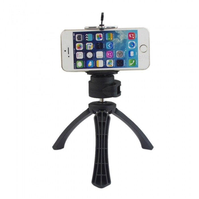 Portable Phone Camera Holder, Mobile Phone Clip, Mini Tripod - BlackTripods and Holders<br>Form  ColorBlackMaterialPlastic + aluminum alloyQuantity1 pieceShade Of ColorBlackTypeTripodRetractableYesFolded Size16*5*5 cmMin.Height14 cmMax.Height17 cmMax.Load600 gPacking List1 * Tripod<br>