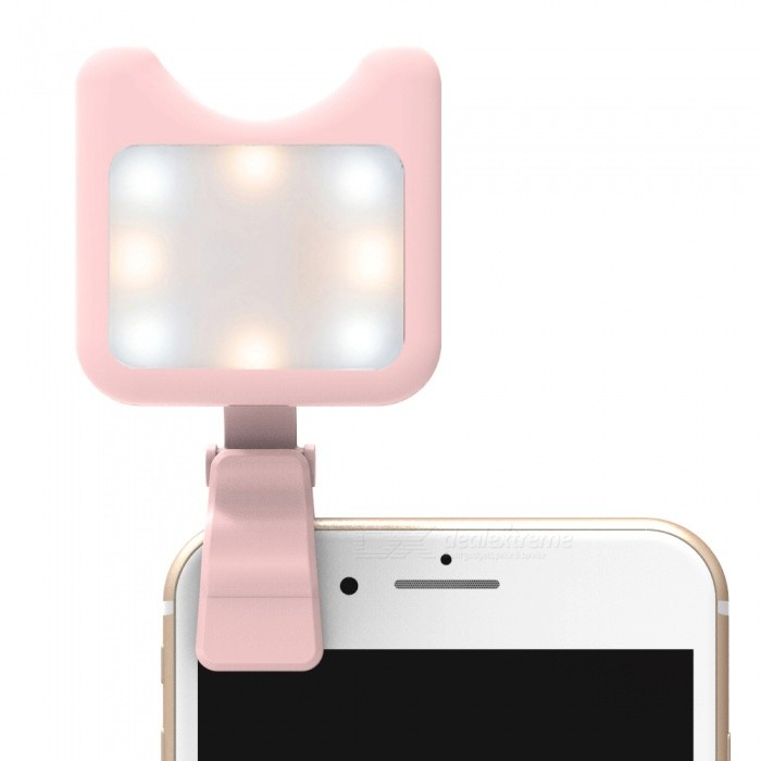 Portable Handheld 9-Mode Photography Fill Light, Selfie Beauty LED Makeup Lamp - Pink + WhiteLighting and Studio Accessories<br>Form  ColorPink + WhiteMaterialABS + electronic componentsQuantity1 pieceCompatible BrandGeneral purposeCompatible ModelGeneral purposeActual Lumens120 lumensTheoretical Lumens150 lumensColor Temperature5200k+-300kEmitter BINOthers,LEDNumber of Emitters8Power1.2 WBrightness ControlDimmerWorking Voltage   3.7 VPower SupplyLi-ion battery (built-in);<br>USBPacking List1 x Fill light2 x Clips1 x USB cable1 x Chinese and English instruction<br>