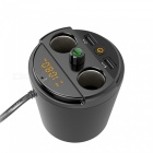 KELIMA 401E Cup-Shaped Car Bluetooth MP3 Player, Dual USB Charger w/ LCD Display - Black