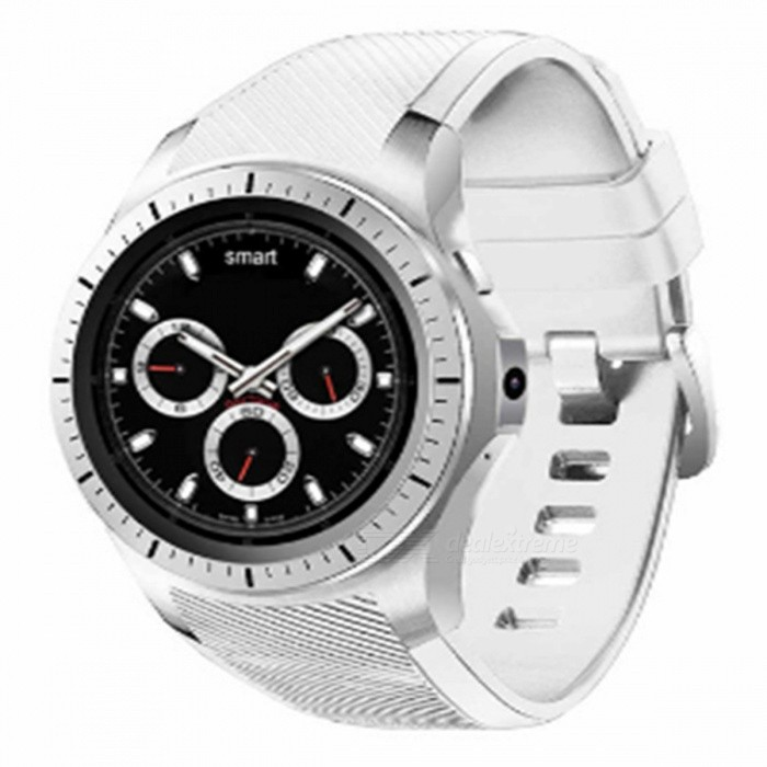 1.3 3G Blurtooth V4.0 Wi-Fi Smart Watch with 512MB RAM + 8GB ROM, GPS, 2.0MP Camera - WhiteSmart Watches<br>Form  ColorWhite + MulticolorQuantity1 setMaterialABSShade Of ColorWhiteCPU ProcessorMTK6580Screen Size1.3 inchScreen Resolution240*240Touch Screen TypeYesBluetooth VersionBluetooth V4.0Compatible OSVersion 4.0 Compatible with Android and IOSLanguageEnglishWristband Length22 cmWater-proofIP65Battery ModeNon-removableBattery TypeLi-polymer batteryBattery Capacity420 mAhStandby Time5-7 daysPacking List1 x Smart Watch1 x USB Cable1 x Manual in English<br>