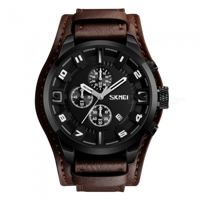 SKMEI 9165  Mens 30M Waterproof Leather Band Four Dials Quartz Watch w/ Calendar - White + BrownQuartz Watches<br>Form  ColorWhite + BrownModel9165Quantity1 DX.PCM.Model.AttributeModel.UnitShade Of ColorBrownCasing MaterialZinc AollyWristband MaterialLeatherSuitable forAdultsGenderMenStyleWrist WatchTypeCasual watchesDisplayAnalogMovementQuartzDisplay Format12 hour formatWater ResistantWater Resistant 3 ATM or 30 m. Suitable for everyday use. Splash/rain resistant. Not suitable for showering, bathing, swimming, snorkelling, water related work and fishing.Dial Diameter5.5 DX.PCM.Model.AttributeModel.UnitDial Thickness1.4 DX.PCM.Model.AttributeModel.UnitWristband Length26.5 DX.PCM.Model.AttributeModel.UnitBand Width2.2 DX.PCM.Model.AttributeModel.UnitBatterySR626SWPacking List1 x SKMEI 9165 Leather Watch<br>