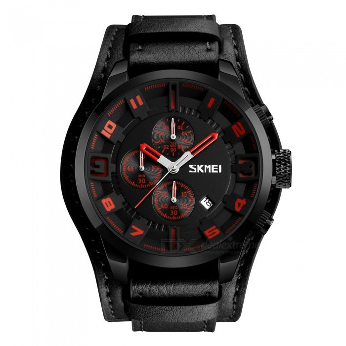 SKMEI 9165  Mens 30M Waterproof Leather Band Four Dials Quartz Watch w/ Calendar - Red + BlackQuartz Watches<br>Form  ColorRed + BlackModel9165Quantity1 pieceShade Of ColorRedCasing MaterialZinc AollyWristband MaterialLeatherSuitable forAdultsGenderMenStyleWrist WatchTypeCasual watchesDisplayAnalogMovementQuartzDisplay Format12 hour formatWater ResistantWater Resistant 3 ATM or 30 m. Suitable for everyday use. Splash/rain resistant. Not suitable for showering, bathing, swimming, snorkelling, water related work and fishing.Dial Diameter5.5 cmDial Thickness1.4 cmWristband Length26.5 cmBand Width2.2 cmBatterySR626SWPacking List1 x SKMEI 9165 Leather Watch<br>