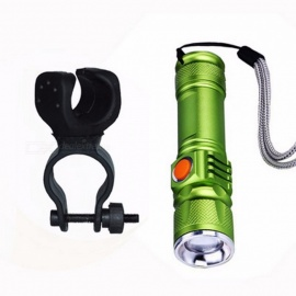 BCXYMQ Waterproof 2000 Lumen Super Light USB Rechargeable 3-Mode T6 LED Front Bicycle Light w/ Built-in Battery Green