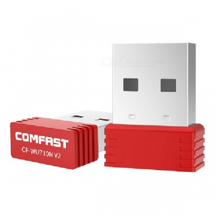 COMFAST CF-WU710N V2 Mini USB 150Mbps Wi-Fi Wireless Network Adapter, Desktop Laptop Receiver Transmitter - RedNetwork Cards<br>Form  ColorRed + SilverModelCF-WU710N V2Quantity1 DX.PCM.Model.AttributeModel.UnitMaterialABSShade Of ColorRedInterfaceUSB 2.0Transmission Rate150 DX.PCM.Model.AttributeModel.UnitNetwork ProtocolsIEEE 802.11n,IEEE 802.11b,IEEE 802.11gAntennaBuilt-inSupports SystemWin xp,Win7 32,Win8 32Form  ColorRed + SilverPacking List1 x CF-WU710N V2 Wireless Network Adapter1 x CD drive<br>