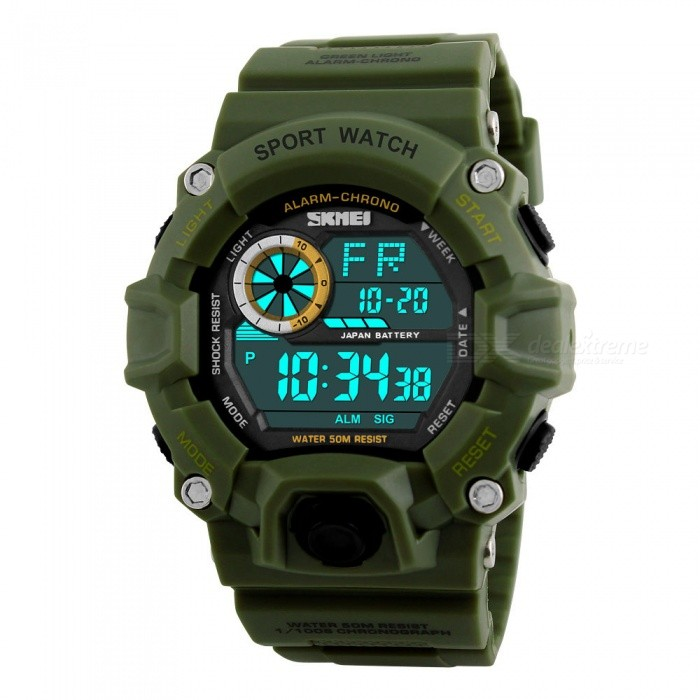 SKMEI 1019 Mens 50M Waterproof Multifunction Sports Watch With EL Light - BlackSport Watches<br>Form  ColorGreenModel1019Quantity1 pieceShade Of ColorGreenCasing MaterialABS + PUWristband MaterialPUSuitable forAdultsGenderMenStyleWrist WatchTypeSports watchesDisplayDigitalBacklightEL LightMovementDigitalDisplay Format12/24 hour time formatWater ResistantWater Resistant 5 ATM or 50 m. Suitable for swimming, white water rafting, non-snorkeling water related work, and fishing.Dial Diameter5.5 cmDial Thickness1.6 cmWristband Length26 cmBand Width2.2 cmBattery1 x CR2032Packing List1 x SKMEI 1019 Watch<br>