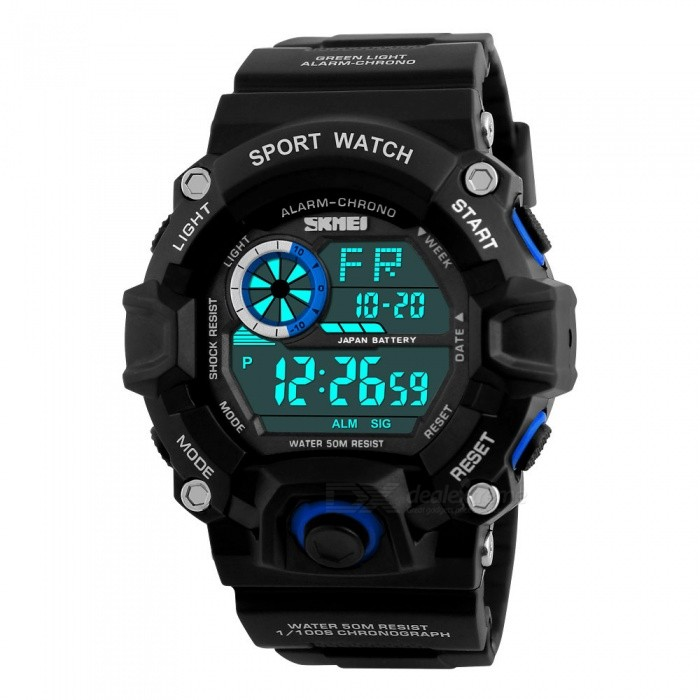 SKMEI 1019 Mens 50M Waterproof Multifunction Sports Watch With EL Light - BlueSport Watches<br>Form  ColorBlueModel1019Quantity1 DX.PCM.Model.AttributeModel.UnitShade Of ColorBlueCasing MaterialABS + PUWristband MaterialPUSuitable forAdultsGenderMenStyleWrist WatchTypeSports watchesDisplayDigitalBacklightEL LightMovementDigitalDisplay Format12/24 hour time formatWater ResistantWater Resistant 5 ATM or 50 m. Suitable for swimming, white water rafting, non-snorkeling water related work, and fishing.Dial Diameter5.5 DX.PCM.Model.AttributeModel.UnitDial Thickness1.6 DX.PCM.Model.AttributeModel.UnitWristband Length26 DX.PCM.Model.AttributeModel.UnitBand Width2.2 DX.PCM.Model.AttributeModel.UnitBattery1 x CR2032Packing List1 x SKMEI 1019 Watch<br>
