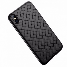 ROCK Soft Braid Phone Case Back Cover, Weave Pattern Protector Slim Thin Interlaced TPU Shell for IPHONE X TPU/Black