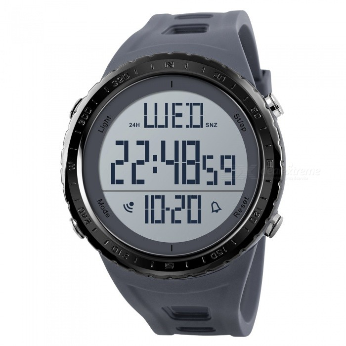 SKMEI 1310 Mens 50M Waterproof Big Dial Outdoor Countdown Chronograph Digital Sport Wristwatch - GraySport Watches<br>Form  ColorGreyModel1310Quantity1 DX.PCM.Model.AttributeModel.UnitShade Of ColorGrayCasing MaterialABSWristband MaterialPUSuitable forAdultsGenderMenStyleWrist WatchTypeCasual watchesDisplayDigitalBacklightEL LightMovementDigitalDisplay Format12/24 hour time formatWater ResistantWater Resistant 5 ATM or 50 m. Suitable for swimming, white water rafting, non-snorkeling water related work, and fishing.Dial Diameter4.9 DX.PCM.Model.AttributeModel.UnitDial Thickness1.4 DX.PCM.Model.AttributeModel.UnitWristband Length26 DX.PCM.Model.AttributeModel.UnitBand Width2.2 DX.PCM.Model.AttributeModel.UnitBattery1 x CR2032Packing List1 x SKMEI 1310 Watch<br>