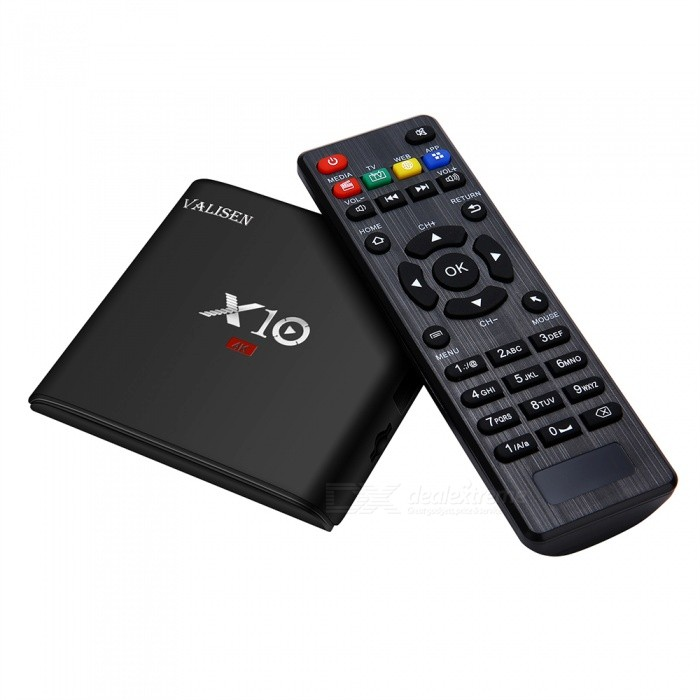 X10 Amlogic Quad-Core Mini Wi-Fi Android 7.1 TV Box with 2GB RAM, 16GB ROM (US Plug)Smart TV Players<br>Form  ColorBlackBuilt-in Memory / RAM2GBStorage16GBPower AdapterUS PlugQuantity1 DX.PCM.Model.AttributeModel.UnitMaterialABSShade Of ColorBlackOperating SystemOthers,Android 7.1ChipsetS905WCPUOthers,Cortex A53Processor Frequency2GHzMenu LanguageEnglishMax Extended Capacity32GBSupports Card TypeMicroSD (TF)Wi-FiIEEE.802.11 b/g/nBluetooth VersionNo3G FunctionYesWireless Keyboard/Mouse2.4GAudio FormatsOthers,MP3 / WMA / AAC / WAV / OGG / DDP / HD / FLAC / APEVideo FormatsOthers,Avi / Ts / Vob / Mkv / Mov / ISO / wmv / asf / flv / dat / mpg / mpegAudio CodecsDTS,AC3,FLACVideo CodecsOthers,VC-1MPEG-1/2/4VP6 / 8Picture FormatsOthers,JPEG / BMP / GIF / PNG / TIFFSubtitle FormatsOthers,SRT / SMI / SUB / SSA / IDX + USBOutput Resolution1080PHDMI2.0Power Supply5V 2APacking List1 x Smart Android TV Box1 x Remote Control1 x HD Cable1 x Power Adapter1 x English User Manual<br>