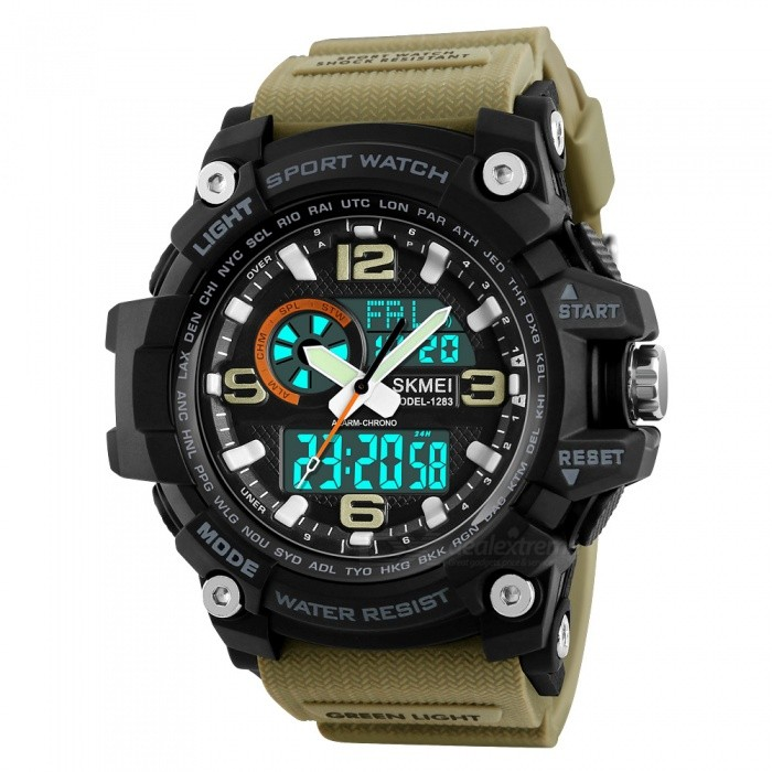 SKMEI 1283 50m Waterproof Mens Digital Sports Watch With EL Light - KhakiSport Watches<br>Form  ColorKhakiModel1283Quantity1 pieceShade Of ColorBrownCasing MaterialABS and PUWristband MaterialPUSuitable forAdultsGenderMenStyleWrist WatchTypeCasual watchesDisplayDigitalBacklightEL LightMovementDigitalDisplay Format12/24 hour time formatWater ResistantWater Resistant 5 ATM or 50 m. Suitable for swimming, white water rafting, non-snorkeling water related work, and fishing.Dial Diameter5.5 cmDial Thickness1.7 cmWristband Length26 cmBand Width2.2 cmBattery1 x CR2025 / SR626SWPacking List1 x SKMEI 1283 Watch<br>
