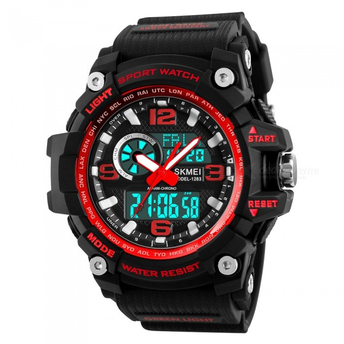 SKMEI 1283 50M Waterproof Mens Digital Sports Watch with EL Light - RedSport Watches<br>Form  ColorRedModel1283Quantity1 pieceShade Of ColorRedCasing MaterialABS and PUWristband MaterialPUSuitable forAdultsGenderMenStyleWrist WatchTypeCasual watchesDisplayDigitalBacklightEL LightMovementDigitalDisplay Format12/24 hour time formatWater ResistantWater Resistant 5 ATM or 50 m. Suitable for swimming, white water rafting, non-snorkeling water related work, and fishing.Dial Diameter5.5 cmDial Thickness1.7 cmWristband Length26 cmBand Width2.2 cmBattery1 x CR2025 / SR626SWPacking List1 x SKMEI 1283 Watch<br>