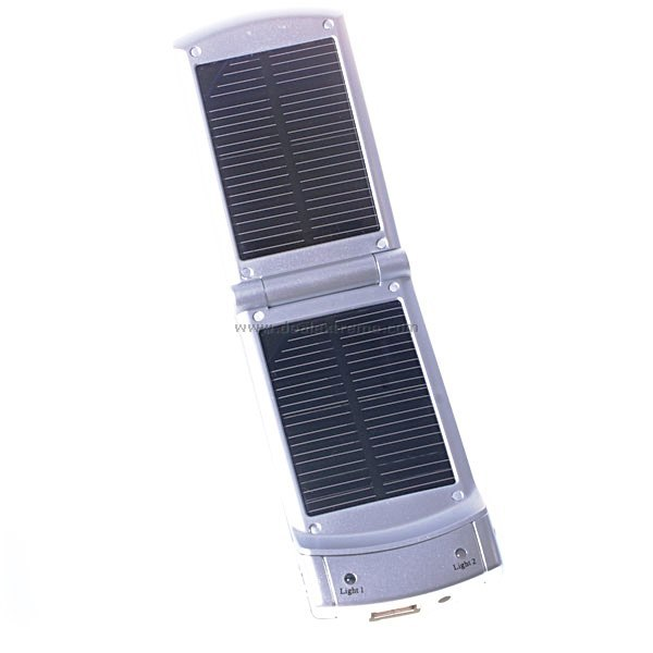 Compact Solar Powered Self-Recharging USB Battery (with Cell Phone Adapters)