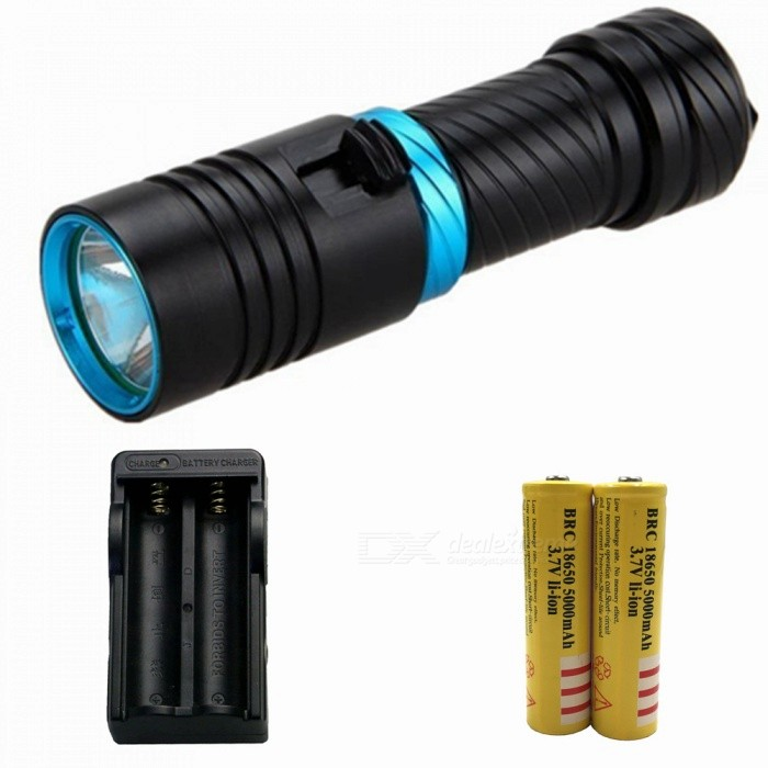 ZHAOYAO T6 Magnetic Push Dimming Bright Light Diving Flashlight with US Charger + 2Pcs 18650 Batteries18650 Flashlights<br>Form  ColorBlack + Blue (US Charger)BrandOthers,ZHAOYAOQuantity1 DX.PCM.Model.AttributeModel.UnitMaterialAluminium alloyOther FeaturesWaterproof,Others,DivingEmitter BrandCreeLED TypeXM-LEmitter BINT6Number of Emitters1Color BINWhiteWorking Voltage   3.7-4.2 DX.PCM.Model.AttributeModel.UnitPower Supply18650/26650Current1.5 DX.PCM.Model.AttributeModel.UnitOutput(lumens)501-800Actual Lumens0-900 DX.PCM.Model.AttributeModel.UnitRuntime(hours)2.1-3RuntimeDepends on the battery quantities DX.PCM.Model.AttributeModel.UnitNumber of Modes1Mode ArrangementHiMode MemoryNoSwitch TypeOthers,PushSwitch LocationHeadLensGlassReflectorAluminum SmoothBeam Range50-150 DX.PCM.Model.AttributeModel.UnitStrap/ClipNoPacking List1 x Diving flashlight1 x Battery tube1 x Hand rope1 x US charger2 x 18650 batteries<br>