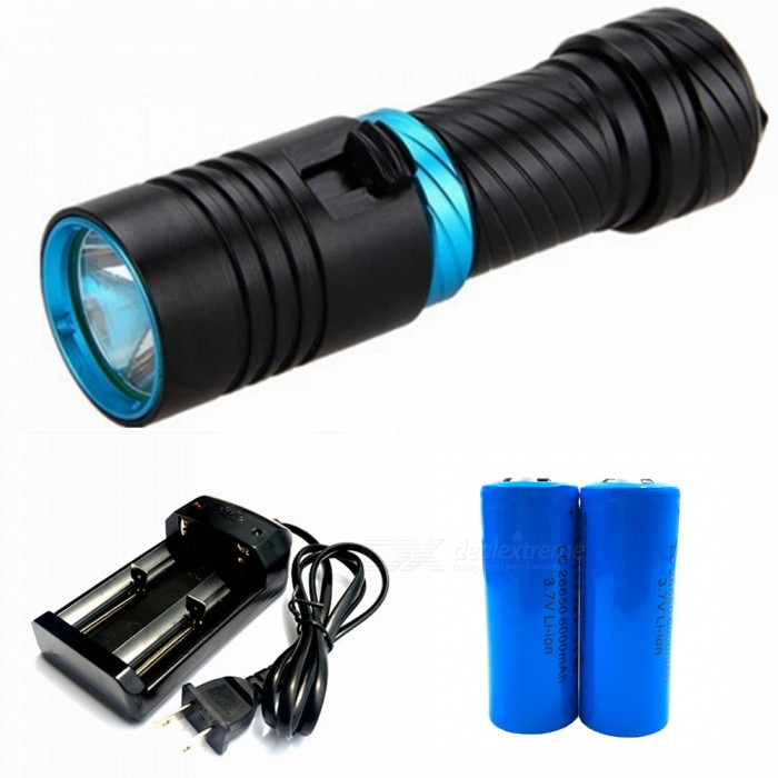 ZHAOYAO T6 Magnetic Push Dimming Bright Light Diving Flashlight with US Charger + 2Pcs 26650 Batteries18650 Flashlights<br>Form  ColorBlack + Blue (US Charger)BrandOthers,ZHAOYAOQuantity1 DX.PCM.Model.AttributeModel.UnitMaterialAluminium alloyOther FeaturesWaterproof,Others,DivingEmitter BrandCreeLED TypeXM-LEmitter BINT6Number of Emitters1Color BINWhiteWorking Voltage   3.7-4.2 DX.PCM.Model.AttributeModel.UnitPower Supply18650/26650Current1.5 DX.PCM.Model.AttributeModel.UnitOutput(lumens)501-800Actual Lumens0-900 DX.PCM.Model.AttributeModel.UnitRuntime(hours)2.1-3RuntimeDepends on the battery quantities DX.PCM.Model.AttributeModel.UnitNumber of Modes1Mode ArrangementHiMode MemoryNoSwitch TypeOthers,PushSwitch LocationHeadLensGlassReflectorAluminum SmoothBeam Range50-150 DX.PCM.Model.AttributeModel.UnitStrap/ClipClip includedPacking List1 x Diving flashlight1 x Battery tube1 x Hand rope1 x US charger2 x 26650 batteries<br>