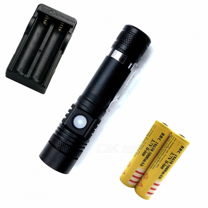 ZHAOYAO T6 3-Mode USB Rechargeable Zooming Bright Light Flashlight with EU Charger + 2Pcs 18650 Batteries18650 Flashlights<br>Form  Color Black + Silver (EU Charger)BrandOthers,ZHAOYAOQuantity1 DX.PCM.Model.AttributeModel.UnitMaterialAluminium alloyOther FeaturesWaterproof,Zoom-to-throw,RechargeableEmitter BrandCreeLED TypeXM-LEmitter BINT6Number of Emitters1Color BINWhiteWorking Voltage   3.7-4.2 DX.PCM.Model.AttributeModel.UnitPower Supply18650Current1 DX.PCM.Model.AttributeModel.UnitOutput(lumens)501-800Actual Lumens150-800 DX.PCM.Model.AttributeModel.UnitRuntime(hours)2.1-3RuntimeDepends on the battery quantities DX.PCM.Model.AttributeModel.UnitNumber of Modes3Mode ArrangementHi,Low,Slow StrobeMode MemoryNoSwitch TypeReverse clickySwitch LocationHeadLensOthers,ResinsReflectorNoBeam Range50-150 DX.PCM.Model.AttributeModel.UnitStrap/ClipClip includedPacking List1 x Flashlight1 x EU charger2 x 18650 batteries<br>