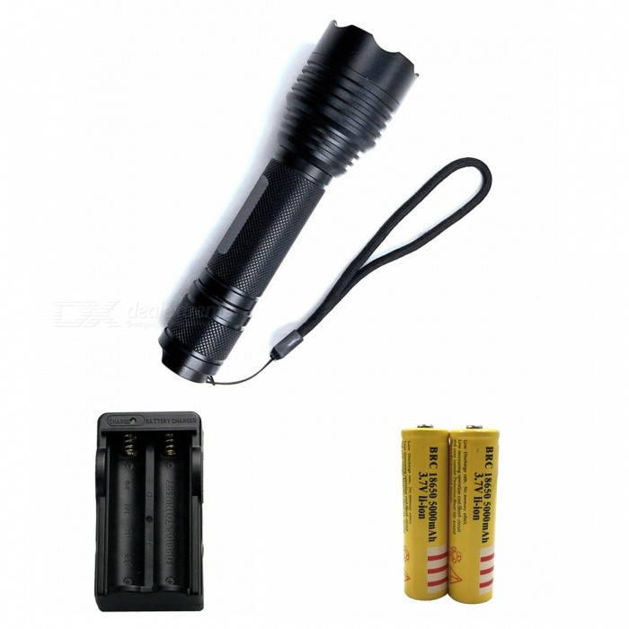 ZHAOYAO C6 T6 5-Mode Bright Light Flashlight with US Charger + 2Pcs 18650 Batteries18650 Flashlights<br>Form  ColorBlack (US Charger)BrandOthers,ZHAOYAOQuantity1 DX.PCM.Model.AttributeModel.UnitMaterialAluminium alloyOther FeaturesWaterproofEmitter BrandCreeLED TypeXM-LEmitter BINT6Number of Emitters1Color BINWhiteWorking Voltage   3.7-4.2 DX.PCM.Model.AttributeModel.UnitPower Supply18650Current1 DX.PCM.Model.AttributeModel.UnitOutput(lumens)501-800Actual Lumens150-850 DX.PCM.Model.AttributeModel.UnitRuntime(hours)2.1-3RuntimeDepends on the battery quantities DX.PCM.Model.AttributeModel.UnitNumber of Modes5Mode ArrangementHi,Mid,Low,Slow Strobe,SOSMode MemoryNoSwitch TypeReverse clickySwitch LocationTailcapLensGlassReflectorAluminum SmoothBeam Range50-200 DX.PCM.Model.AttributeModel.UnitStrap/ClipStrap includedPacking List1 x Flashlight1 x US charger2 x 18650 batteries<br>