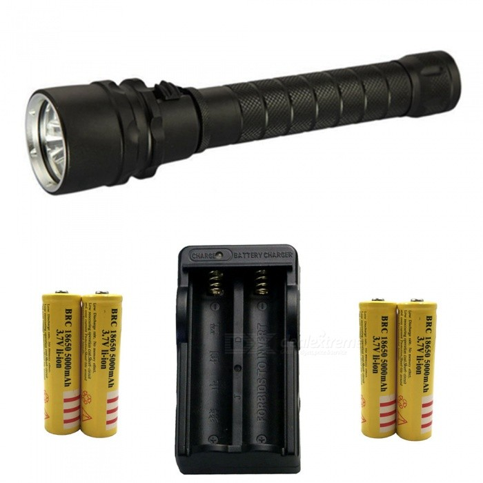 ZHAOYAO T6 3-LED Bright Light Waterproof Diving Flashlight with EU Charger + 4Pcs 18650 Batteries18650 Flashlights<br>Form  ColorBlack (EU Charger)BrandOthers,ZHAOYAOQuantity1 DX.PCM.Model.AttributeModel.UnitMaterialAluminium alloyOther FeaturesWaterproof,Others,DivingEmitter BrandCreeLED TypeXM-LEmitter BINT6Number of Emitters3Color BINWhiteWorking Voltage   7.4 DX.PCM.Model.AttributeModel.UnitPower Supply18650Current1.8 DX.PCM.Model.AttributeModel.UnitOutput(lumens)801-1000Actual Lumens500-2000 DX.PCM.Model.AttributeModel.UnitRuntime(hours)2.1-3RuntimeDepends on the battery quantities DX.PCM.Model.AttributeModel.UnitNumber of Modes1Mode ArrangementHiMode MemoryNoSwitch TypeOthers,PushSwitch LocationHeadLensGlassReflectorAluminum SmoothBeam Range50-200 DX.PCM.Model.AttributeModel.UnitStrap/ClipStrap includedPacking List1 x Flashlight1 x EU charger4 x 18650 batteries<br>