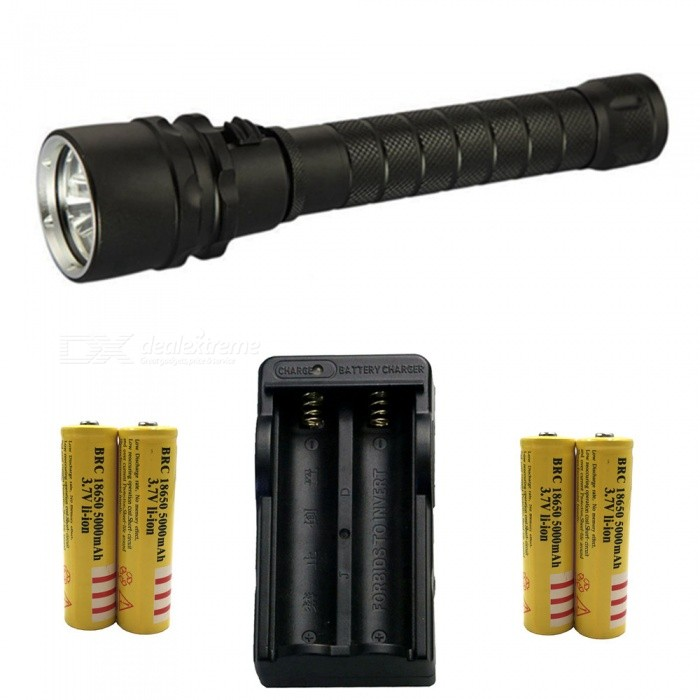 ZHAOYAO T6 3-LED Bright Light Waterproof Diving Flashlight with US Charger + 4Pcs 18650 Batteries18650 Flashlights<br>Form  ColorBlack (US Charger)BrandOthers,ZHAOYAOQuantity1 DX.PCM.Model.AttributeModel.UnitMaterialAluminium alloyOther FeaturesWaterproof,Others,DivingEmitter BrandCreeLED TypeXM-LEmitter BINT6Number of Emitters3Color BINWhiteWorking Voltage   7.4 DX.PCM.Model.AttributeModel.UnitPower Supply18650Current1.8 DX.PCM.Model.AttributeModel.UnitOutput(lumens)801-1000Actual Lumens500-2000 DX.PCM.Model.AttributeModel.UnitRuntime(hours)2.1-3RuntimeDepends on the battery quantities DX.PCM.Model.AttributeModel.UnitNumber of Modes1Mode ArrangementHiMode MemoryNoSwitch TypeOthers,PushSwitch LocationHeadLensGlassReflectorAluminum SmoothBeam Range50-200 DX.PCM.Model.AttributeModel.UnitStrap/ClipStrap included,Clip includedPacking List1 x Flashlight1 x US charger4 x 18650 batteries<br>