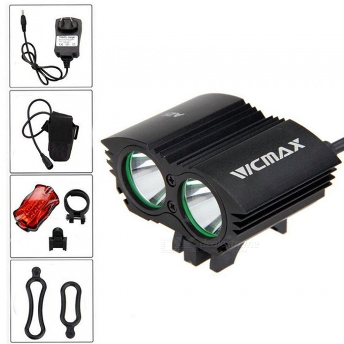 A21 Portable Dual T6 Head USB Rechargeable 4-Mode Bicycle Light Headlight for Outdoor Night Riding - Black