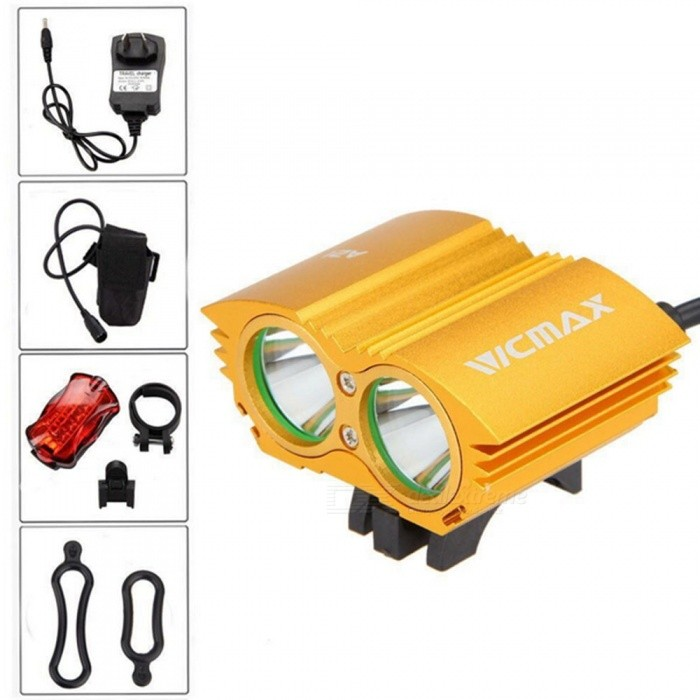 A21 Portable Dual T6 Head USB Rechargeable 4-Mode Bicycle Light Headlight for Outdoor Night Riding - GoldenBike Lights<br>Form  ColorBlack + GoldModelA21 bicycle lightQuantity1 DX.PCM.Model.AttributeModel.UnitMaterialAluminum alloyEmitter BrandOthers,XMLLED TypeOthers,XML U2Emitter BINT6Number of Emitters2Color BINCold WhiteWorking Voltage   8.4V DC DX.PCM.Model.AttributeModel.UnitPower Supply6400mAh battery packCurrent8.4 DX.PCM.Model.AttributeModel.UnitTheoretical LumensUp to 5000 DX.PCM.Model.AttributeModel.UnitActual LumensUp to 5000 DX.PCM.Model.AttributeModel.UnitRuntime8.4V can work 2-3 DX.PCM.Model.AttributeModel.UnitNumber of Modes4Mode ArrangementHi,Mid,Low,Slow StrobeMode MemoryNoSwitch TypeReverse clickyLensGlassReflectorAluminum TexturedFlashlight MountingHandlebarSwitch LocationHeadBeam Range30 DX.PCM.Model.AttributeModel.UnitBike Lamp Interface SizeAdjustableBattery Pack Interface SizeAdjustablePacking List1 x T6 Lamp1 x Battery Pack (4 18650 battery capacity 6400MAH DC voltage: 8.4V can work 2-3 hours continuously)1 x 1 8.4V 1A charger2 x O-rings1 x 5-LED butterfly taillight1 x Leather box packaging<br>